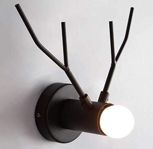 WWFF Moderno de la Pared de la lámpara La Simplicidad llevada Creativa lámpara de Pared de diseño de los Ciervos lámpara de cabecera de Metal Cuerpo de la lámpara, Negro, A