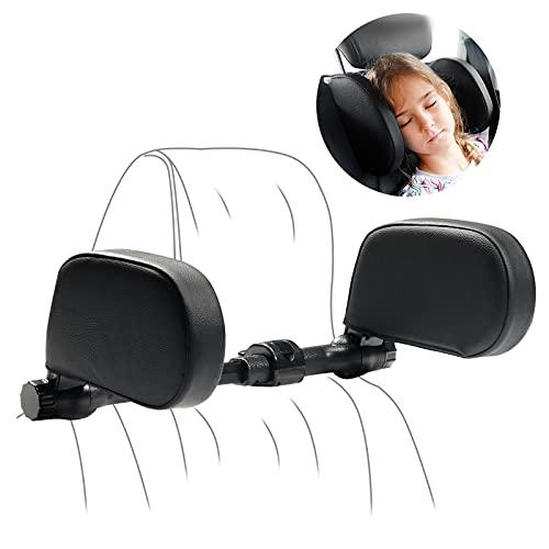 Yoocaa Car Headrest Pillow, Road Pal Headrest, Adjustable Car Seat Head Neck Support, U Shaped Car Sleeping Pillow for Kids & Adults (Black)