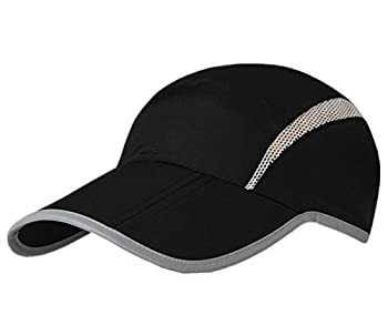 Connectyle Foldable Mesh Sun Cap Outdoor Sports Hat Breathable Sun Runner Cap with Reflective Trim Black
