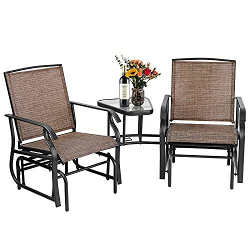 Aoxun 2 personas al aire libre Patio Glider Silla - 3 en 1 L Porche Swing Silla con mesa de centro y agujero para paraguas, tela Textilene (marrón)