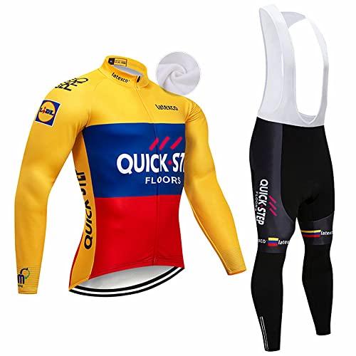 XGFHX Abbigliamento da ciclismo invernale con cerniera completa Abbigliamento da ciclismo per mountain bike Pantaloni a maniche lunghe con imbracatura