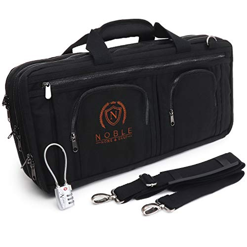 Waxed Canvas Chef Knife Bag Holds 19 Knives PLUS Knife Steel Meat Cleaver and Large Storage Compartments! Our Most Durable Professional Line Knife Carrier Includes Custom Padlock! (Bag Only) (Black)