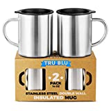 Stainless Steel Coffee Mug with Lid, Set of 2-410 ml Premium Double Wall Insulated Travel Cup, Metal Mug with Handle - Shatterproof, BPA Free, Dishwasher Safe, Tea, Beer (410 ml)