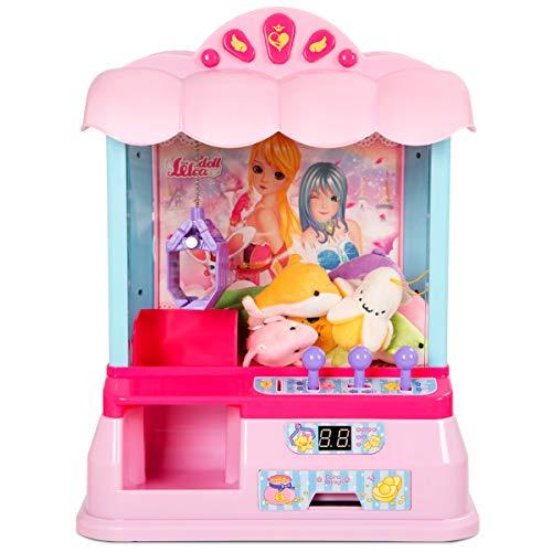 COSTWAY Máquina de Dulces Candy Grabber Garra 33,5 * 21 * 37cm con 20 Moneda del Juego 8 Juguete para Niño Fiesta