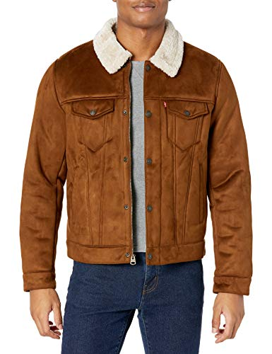 Levi's Men's Faux Leather Sherpa Lined Trucker Jacket, Brown Faux Shearling, X-Large