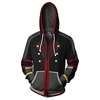 VOSTE Sora Aqua Costume Halloween Game Cosplay Zip Up Jacket Pullover Hoodie for Unisex  Medium Color 2