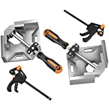 NAYE Right Angle Clamp,90 Degree Corner Clamps for Woodworking Jigs,Bench Vise for Cabinet Frame Drawer,4' Quick Grip Bar Clamps Included