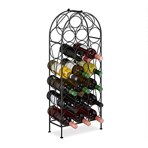 Relaxdays Botellero para 20 Botellas, Estante Decorativo para Cocina, sótano, Bar, Metal, 83 x 34 x 17 cm, Color Negro