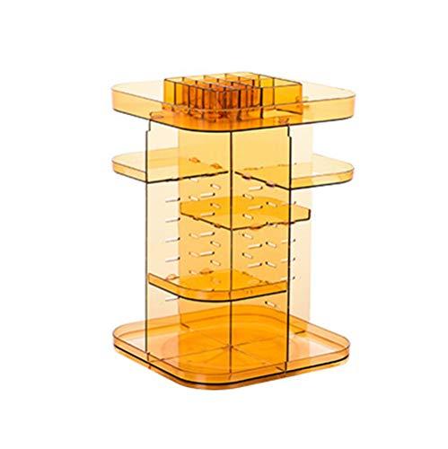 Boîte de Rangement Cosmétique Rotative à 360 °,Trousse Cosmétique Acrylique Transparente,Support de Finition de Beauté de Bureau,Yellow
