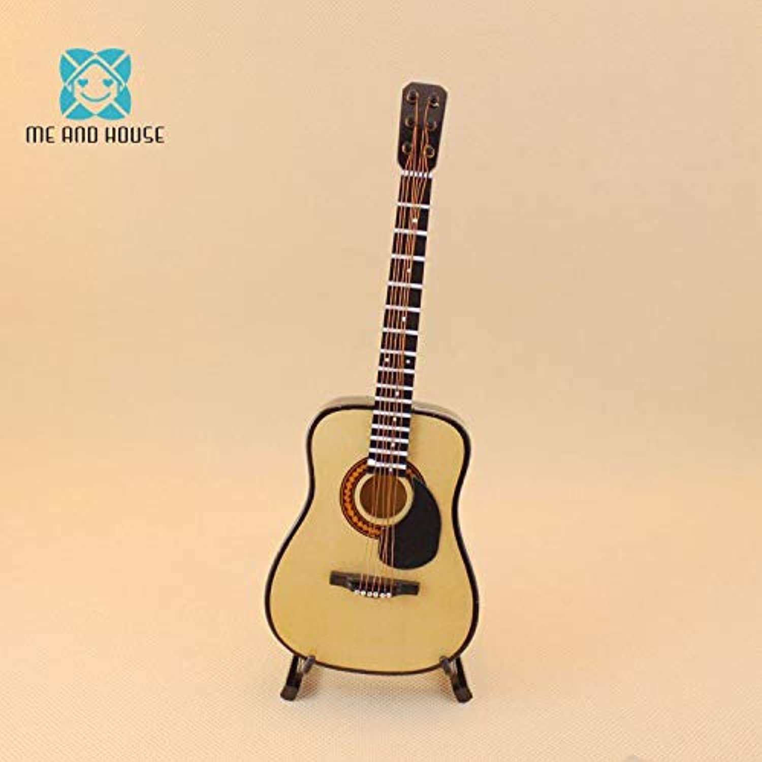 Kiartten 1 6 Scale Furniture - Scale Doll Acoustic Guitar Miniature Doll House Wooden Hmade Nittaku Acoustic Musical Instrunts Decoration 1 Pcs