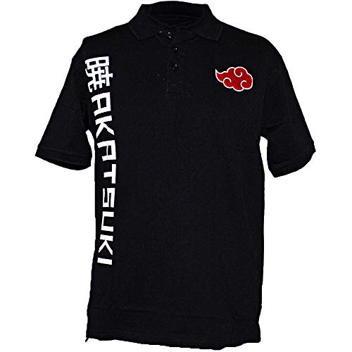 Ripple Junction Naruto Shippuden Adult Akatsuki Cloud 100% Cotton Polo Shirt 2XL Black