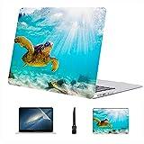 Compatible con Macbook Air 11'13' Pro 15'16' Green Sea Turtle con Sunburst Estuche rígido de plástico subacuático para Estuches Mac Accesorios de protección con Alfombrilla de ratón