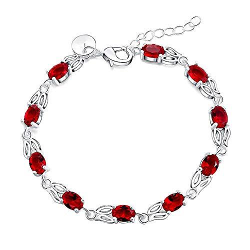 AIUIN 1 x armband zilver grootte verstelbaar vlinder armband zirkonia rood voor dames sieraden en decoratie (met een sieradenzakje)