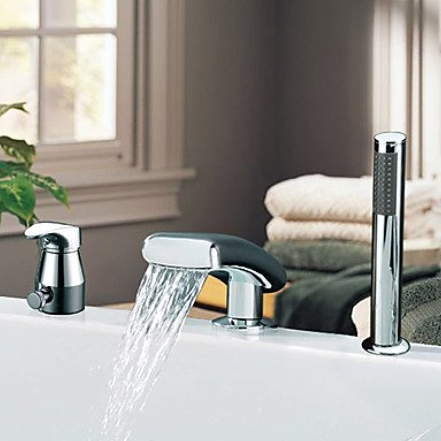 Waterfall Chrome Finish Contemporary Widespread Two Handles With Handshower Tub Faucet