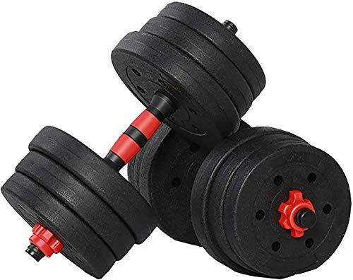 Kit Mancuernas Regulables 20KG. Fitness Musculación Juego Pesas 2 en 1 Barra Conector Ajustable Set Pesas Gimnasio en Casa Pack Dumbbell Hombre Mujer Principiantes Entrenamiento Fuerza.