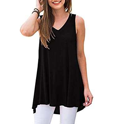 AWULIFFAN Women's Summer Sleeveless V-Neck T-Shirt Tunic Tops Blouse Shirts (Black,XX-Large)