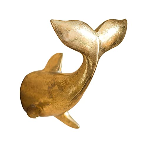 ROPIAEN Whale Tail Cast Iron Wall Hook Hook Golden Dolphin Bay Hook Fish Tail Wall Hook Decoration Wall Hanging Wall Hook Resin Creative Coat Rack (Color : Hook up, Size : One)