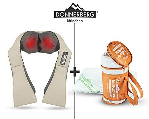 DAS ORIGINAL Nackenmassagegerät Donnerberg® Geschenkset Vatertagsgeschenk für Schulter, Rücken, Nacken | im Set mit Bambuskissen
