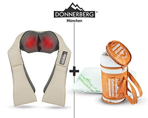 DAS ORIGINAL Nackenmassagegerät Donnerberg® Massagegerät für Schulter, Rücken, Nacken | im Set mit Bambuskissen