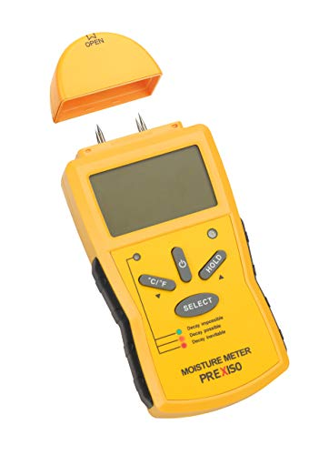 Prexiso Moisture Meter, Stainless Steel Prongs, LCD Screen, Auto Shut-Off, Four-Button Operation, (1 Pack) (PMX-42B)
