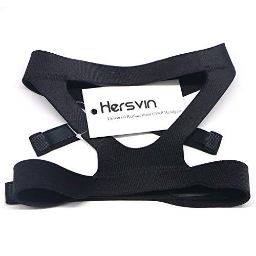 Universelle CPAP-Kopfbedeckung, Hersvin Ersatz-Kopfbandriemen, kompatibel mit den meisten Nasen-, Vollgesichts-Schlafapnoe-Masken von Respironics, Resmed, Resmart Ventilator, Schwarz
