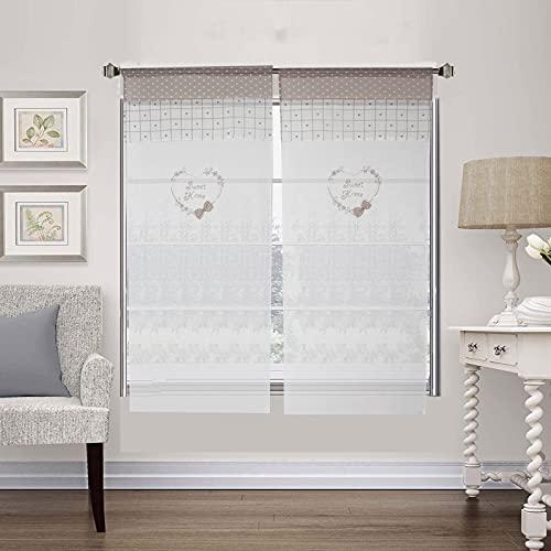 Coppia Tendine Finestra Shabby Chic Cuore in Tessuto Ricamata Sweet Home, Tenda 60x240cm 3D Fiocco Beige Bianco