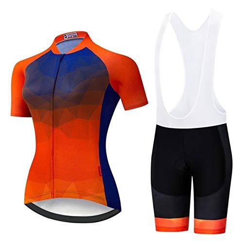 WPW Conjunto de Maillot de Ciclismo para Mujer, Pro Team Summer Camiseta de Bicicleta MTB de Manga Corta Top Ropa de Ciclismo de Secado Rápido (Color : B, Talla : Medio)