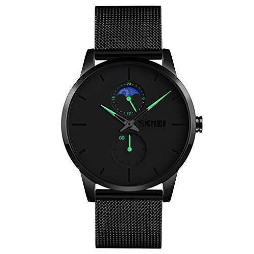 SKMEI Men Wrist Watch, Ultra Thin Waterproof Watch for Men, Analog Quartz Watch with Stainless Steel Band