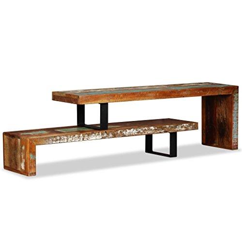 vidaXL TV Schrank Vintage-Look Fernsehtisch Fernsehschrank Lowboard TV Möbel Tisch Board Sideboard HiFi-Schrank Recyceltes Massivholz