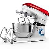 Robot de cocina, amasadora (1400 W, con bol de acero inoxidable de 5,5 L, amasador, batidor,varillas y protección para salpicaduras, 6 velocidades, silencioso) rojo/blanco