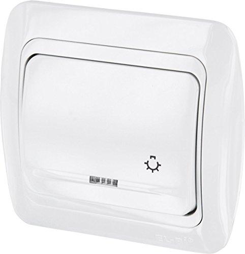 UP Taster mit Licht-Symbol + LED - All-in-One - Rahmen + Unterputz-Einsatz + Abdeckung (Serie T1 alpinweiß)