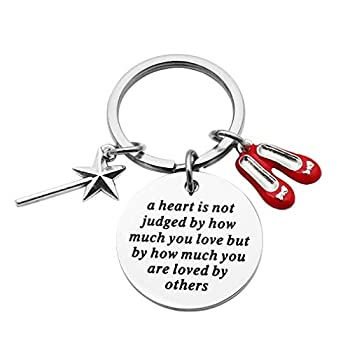 Beeshion Wizard of Oz Necklace Stainless Steel Charm with Ruby Red Slippers Pendant Necklace Inspirational Gift for Her  Wizard of Oz Keychain