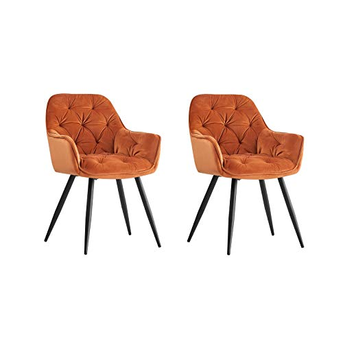 Greneric 2er Set Esszimmerstuhl aus Stoff (Samt) Wohnzimmerstuhl Farbauswahl Retro Design Armlehnstuhl Stuhl mit Rückenlehne Sessel Metallbeine Schwarz (Orange, 2)…