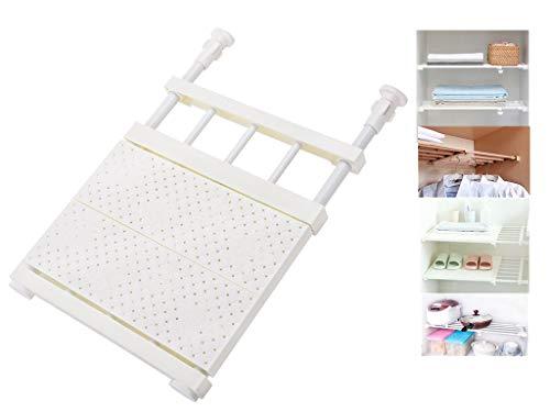 OAKNO Organizador de armario extensible telescópico ajustable para armario, sin perforaciones, de acero al carbono, para dormitorio, baño, cocina (blanco, 33-53 cm)