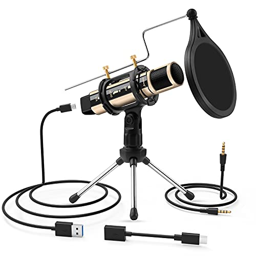 USB Microphone, ZealSound Metal Condenser Recording Microphone for...