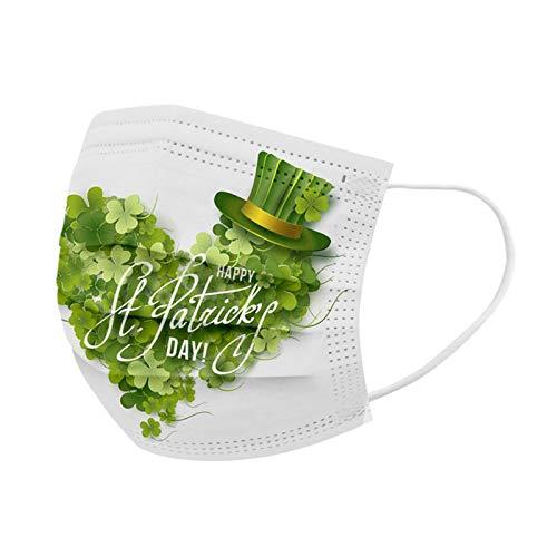 Soluoc St. Patrick's Day Disposable Adults Face_mask 3 Ply Face_Masks for ÇoronɑVịrủs Protectịon Dust_Proof Face Bandanas Fashion Green Shamrock Floral Print for Women Men