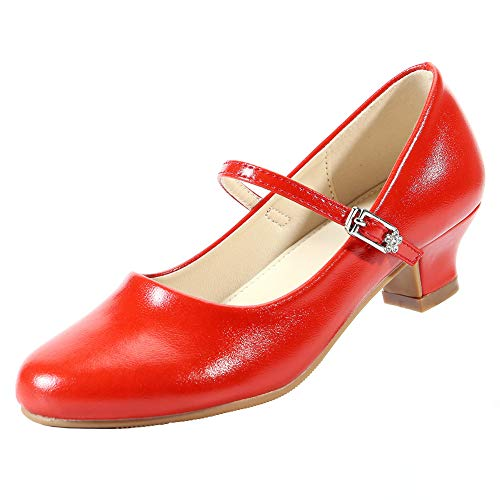 EIGHT KM Girls Low Heels Mary Jane Formal Dress Pumps Shoes EKM7015 Athena Red Size 3 US Big Kid