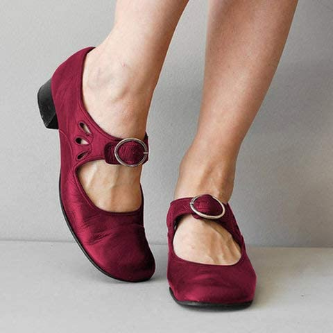 Leather Casual Loafters Mid Heel Square Toe Oxfords Dress Shoes Block Heel Ballet Shoes Comfort Slip On gracosy Mary Jane Pumps for Women
