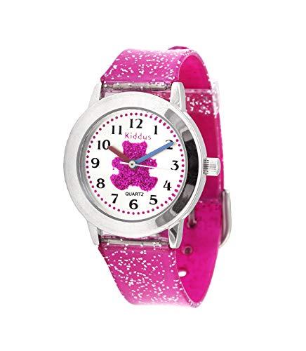 KIDDUS Modische Mädchenuhr für Kinder. Analoge Armbanduhr für Kinder mit Übungen zum Uhrzeit Lernen und hochwertigem japanischen Quarzwerk. Süß, stylisch, elegant und fabelhaft. FAB11 Bär