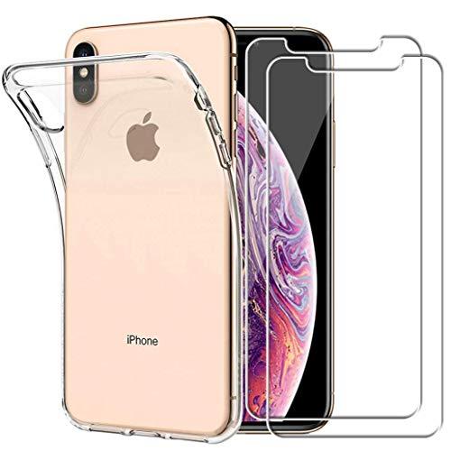 """YOOWEI Coque iPhone XS Max Transparente+ [2 Pack Verre trempé écran Protecteur], Transparente Silicone en Gel TPU Etui iPhone XS Max Coque de Protection Housse Antichoc Cover pour iPhone XS Max 6,5"""""""