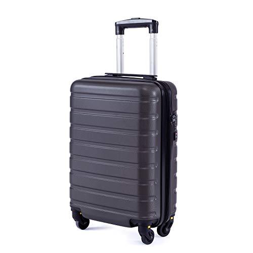 Toctoto Bagaglio a Mano Espandibile con Lucchetto TSA (18' 38LT 52x33x20cm), Adatto Per Voli Low Cost Bagaglio Da Cabina Ryanair, Vueling, Wizz Air (18'(52cm-38L)-Grigio)
