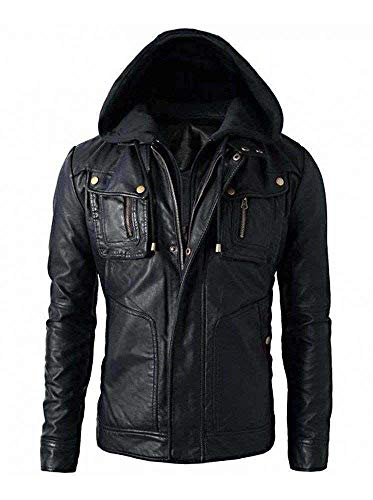 New Men's Motorcycle Brando Style Biker Real Leather Hoodie Jacket - Detach Hood (M - Chest Size...