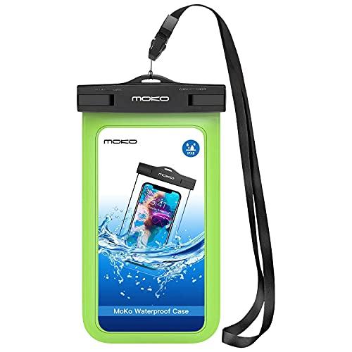 MoKo Funda Impermeable Brazo y Cuello para iPhone 12/iPhone 12 Mini/iPhone 12 Pro/iPhone XS/XS MAX/XR Galaxy S7/S7 Edge/ P7/Samsung S21 y teléfono 5.7'' - IPX8 Certificado, Verde