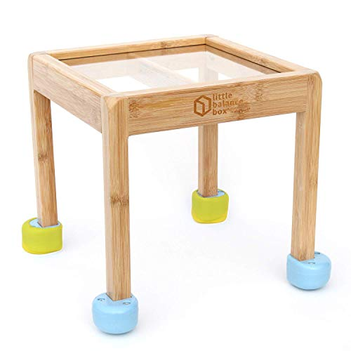 Little Balance Box 2-in-1: No Wheels Spring Feet, Girl Boy Baby Walker Push Stand Toys, Toddler Activity Table, Award Winning (Blue + Booties)