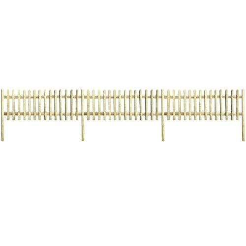 Lingjiushopping clôture en bois avec poteaux de pin impregnado 5,1 m 150 cm 5/7 cm Material : Bois de Pin, vert imprégnée (résistant à la putrefacci ¨ ® n) di ¨ ¢ Metro du travesa ? ou : 7 cm