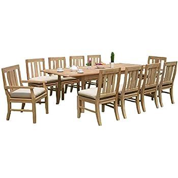 Amazon Com 11 Pc A Grade Outdoor Patio Teak Dining Furniture Set 94 Double Extension Rectangle Table 10 Osawa Chairs 8 Armless 2 Arm Garden Outdoor