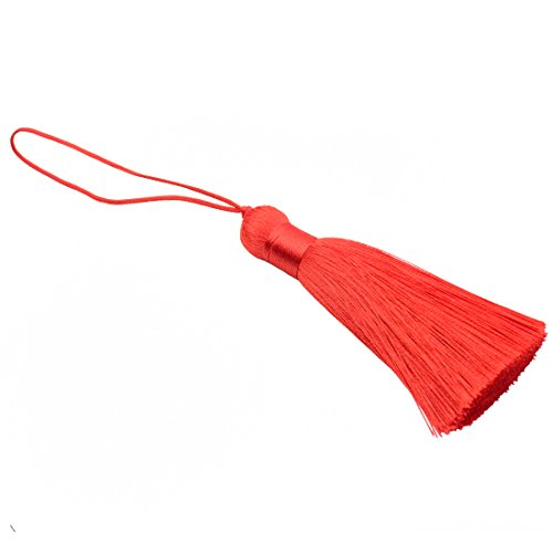 Makhry 8pcs 16cm/6.28 inch Cute Chunky Tassels Soft Elegant Handmade Silky Floss Tassels with 2.75 Inch Cord Loop and Chinese Knot for Woman Earrings, Jewelry Making, Souvenir, (Red)