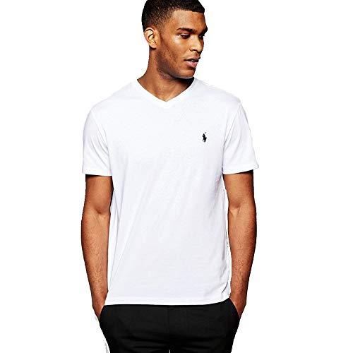 Polo Ralph Lauren Camiseta Custom Slim Fit con cuello de pico (L, Pure White)