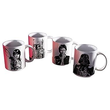 Star Wars SWRR-4421 Luke Skywalker, Boba Fett, Han Solo & Darth Vader Coffee Mugs 11 oz. by Zak Designs