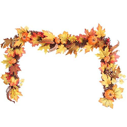 GWQSM 70-Zoll-LED beleuchtet Fall-Herbst-Kürbis-Ahornblätter Garland Thanksgiving-Dekor Pour fenêtre mur Porte Avant Décor et Thanksgiving (Color : Yellow, Size : 1.7M)